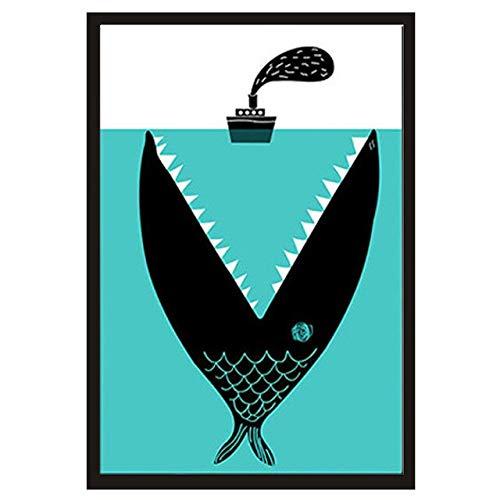 N / A Fütterung Boot Hai Leinwand Malerei niedlichen Cartoon Wandbild Wohnzimmer Hauptdekoration Ölgemälde Rahmenlos 40x50cm