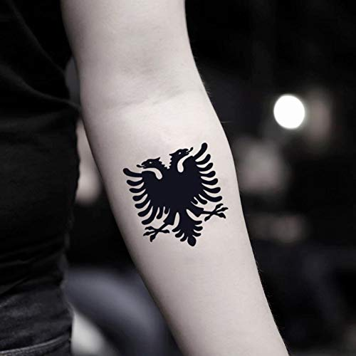 Albanian Eagle Temporary Fake Tattoo Sticker (Set of 2) - www.ohmytat.com