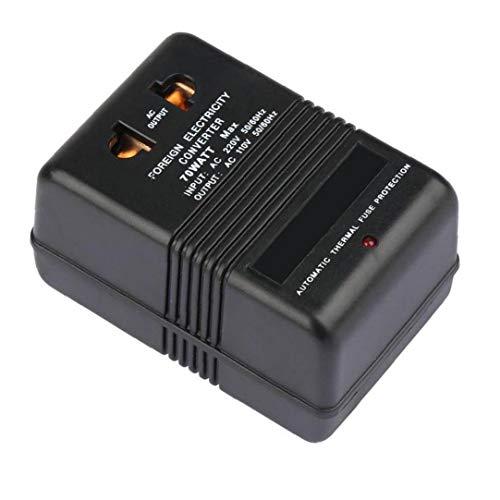 nJiaMe Travel Adapter Spannungswandler 220V bis 110V Step Down Converter 70W Energien-Inverter-Strom Converter Schwarz
