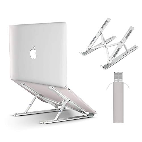 IVSO Laptop Stand, Aluminum Ventilated Cooling Stand, Portable Laptop Holder for Desk, Ergonomic Notebook Riser Tray Mount for MacBook Pro Air, Lenovo, Dell, all 8'-15.6' laptop tablet iPad, Silver