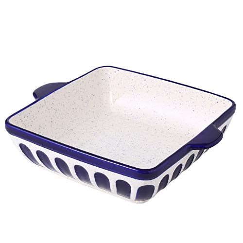 Porcelain Baking Dish 8.7 inch Square Baking Pan Cake Pan Bakeware with Double Handle for Kitchen Cooking, Dark Blue