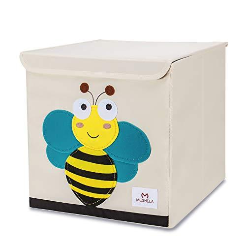 Meshela Aufbewahrungsbox und Organisator für Kinderspielzeug,Cartoon Aufbewahrungswürfel Leinwand faltbare Spielzeug Aufbewahrungsbox (Biene)