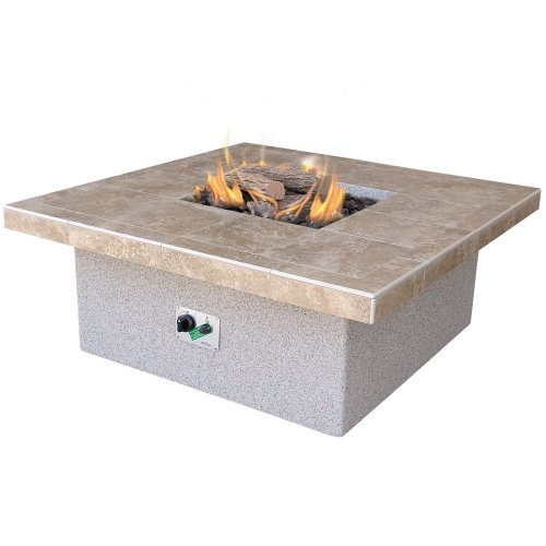 Big Sale Cal Flame Fire FPT-S301 55,000 BTU Gas Outdoor Square Fire Pit With Tile Countertop