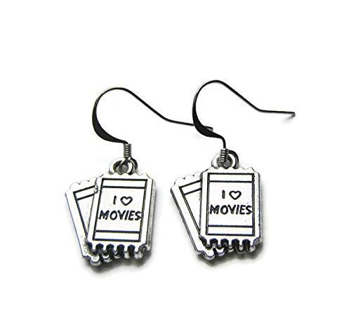 Pendientes de plata con diseño de caballero de la película'I Love Movies', para los amantes del cine, con ganchos de plata de ley en una bolsa de regalo