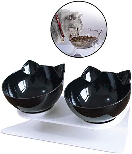 Linseray Fressnäpfe Für Katzen, Katzennapf für Futter Wasser Kreative rutschfeste Basis Futternapf Katzennäpfe Set für Katze Welpe(Schwarz)