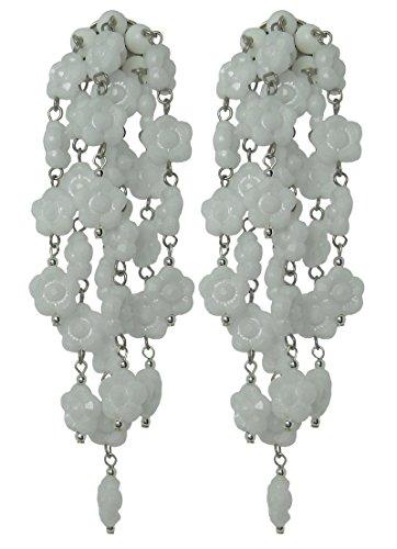VINTAGE WHITE - Orecchini fatti a mano con clips, senza buco, 7 pendenti di fiorellini Bianchi in resina, originali anni 60, lunghezza cm. 9