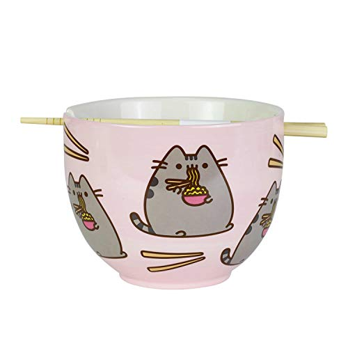 Enesco 6004629 Pusheen by Our Name is Mud Ramen - Juego de cuencos y palillos, color rosa