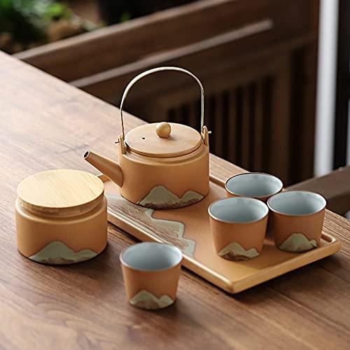 ASDWS Juego de té de cerámica de Kungfu, Tetera con Bandeja 4 Tazas, 1 Bote de té, Tetera para el hogar de Oficina, Conjunto de té de té de la Tarde, Conjunto de té para Adultos