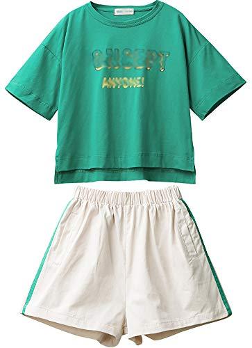 ZRFNFMA Pantalones cortos de verano para niñas de estilo de los niños de manga corta traje grande niños red roja deportes casual desgaste adecuado para niños o niñas verde traje verde-130cm