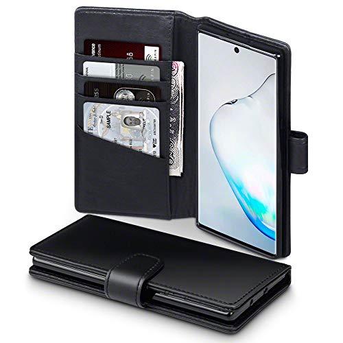 TERRAPIN, Kompatibel mit Samsung Galaxy Note 10 Hülle, [ECHT Leder] Brieftasche Hülle Tasche mit Standfunktion Kartenfächer & Bargeld - Schwarz