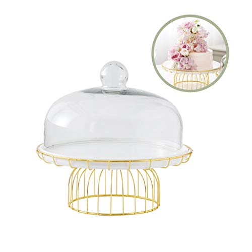 C-J-Xin Decor van het Huis Cake Stand, Restaurant Fruit Sandwich Dessert Classic White Ceramic Tray glassalade Dome met Gold Metal Base 20,8 / 29cm cake Standaards (Size : 20.8 * 20.8 * 25.2CM)