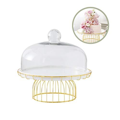 Biefstuk plaat 20,8 / 29cm Dienblad van de Cake, witte keramische plaat met metalen onderstel bruiloft decoratie Dessert Stand Glass Cheese Donut Dome Taart bord (Size : 29 * 29 * 27.2CM)