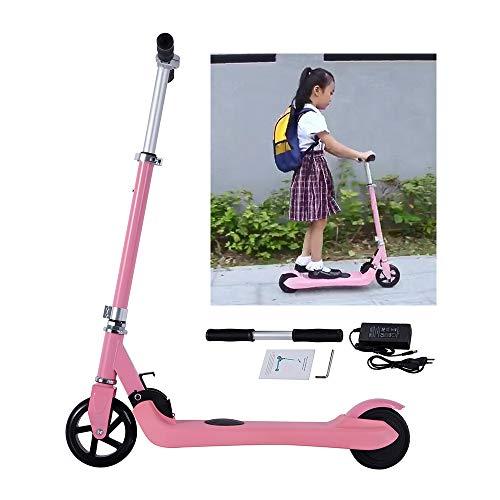 Magic Way Patinete Eléctrico 5'- Motor 120W - Batería 36V 2,2AH - Velocidad Máx 6KM / H - Autonomia Máx 8KM- Altura Ajustable - Regalos para Niños - Rosa