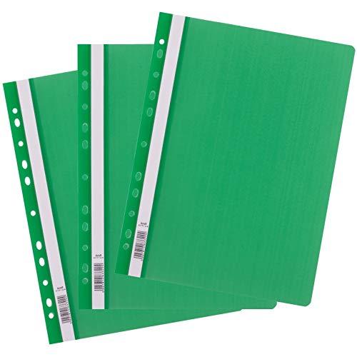 D.RECT 25 Stück | Extra stark Schnellhefter Lux A4 aus Kunststoff mit transparentem Vorderdeckel | Plastik-Schnellhefter aus PP-Folie | gelocht - Eurolochung Grün