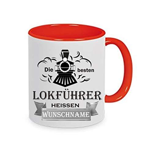 Crealuxe Tasse m. Wunschname Die besten Lokführer heißen (Wunschname) - Kaffeetasse mit Motiv, Bedruckte Tasse mit Sprüchen oder Bildern