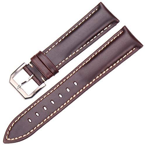 DLRBWAN Vintage Watch Band Correa Negro Dakr Marrón Mano Hecho A Mano Liso Cuero Genuino Reloj Reloj Accesorios Accesorios Metal Hebilla (Band Color : Black, Band Width : 19mm)