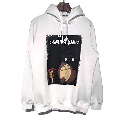 GEOOG Unisexhoodie Charlie Luciano Mit Kapuze Beiläufige Round Neck Langarm Pullover Hip Hop Sweatshirt Pullover Winter Warme Jacke Tops,Weiß,XL