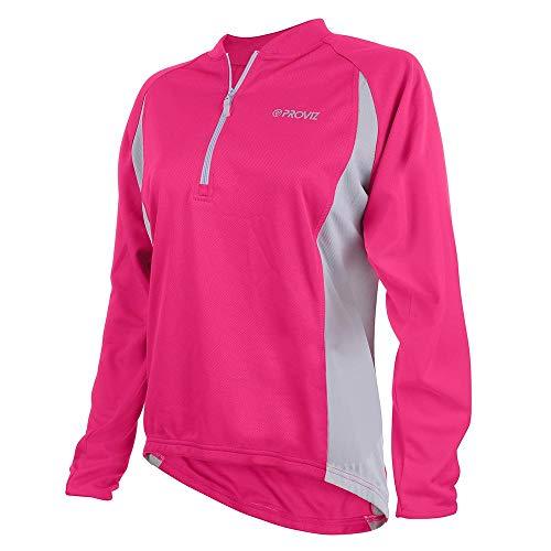 Proviz Femmes Manches Longues Zip T-Shirt de Cyclisme/Course à Pied Rose Rose Taille 44
