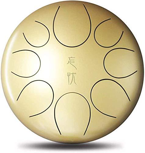 Meditación de yoga Tambor de tambor de tambor de la lengüeta de acero Estándar C Clave 8 Notas de 12 pulgadas, Para acampar, Yoga, Meditación, Música, Bolsa de viaje acolchada, Maletas, Etiqueta engom