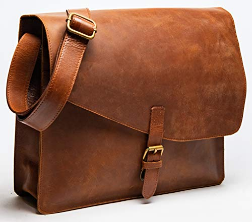 HIDES Full Grain Leather Laptop Messenger Bag Shoulder Crossbody Travel Satchel (Small, Distressed Brown)