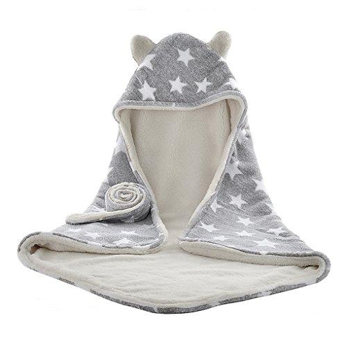 Asciugamano bambino con cappuccio, set accappatoio unisex carino morbido asciugamano di spugna per nuoto con cintura per neonato, 75x 75cm Grey