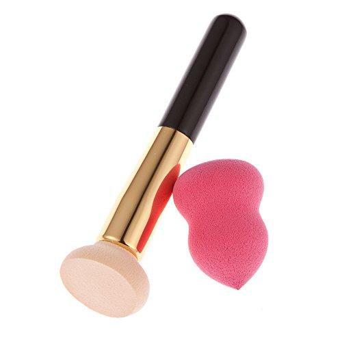 1pc Brosse Électrique Rose avec 1pc Éponge Puff avec 1pc Sac en Toile de Maquillage - Chair