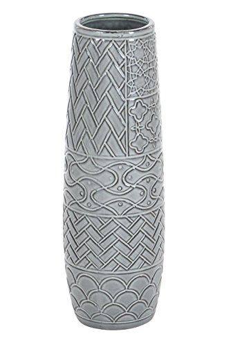 """Deco 79 59947 Cylindrical Ceramic Vase with Embossed Patterns, 16"""" x 5"""", Gray"""