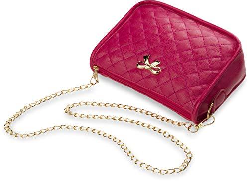 Unbekannt Handtasche Schultertasche Damentasche gesteppt Abendtasche mit Kettenriemen rosa