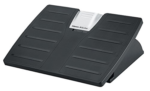 Fellowes Office Suites - Reposapies ergonomico ajustable en altura con proteccion anti-bacterias Microban, soporte para apoyo de pies inclinable para oficina y hogar