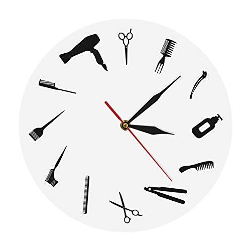 yage Equipo de barbero Reloj de Pared Diseño Moderno Peluquería Letrero de Negocios Reloj de Pared Belleza Peluquería Reloj Peluquería Regalo