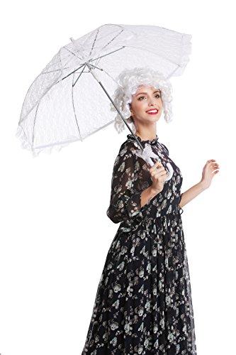 DRESS ME UP - YS-005W Parasol Spitze Sonnenschirm Barock Rokoko Viktorianisch Biedermeier weiß...