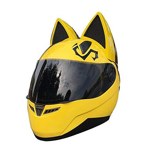 YGFS Damen Erwachsenen Motorradhelm Four Seasons Universal Abnehmbare Katzenohren Vollgesichtsmotorrad Offroad Helm (gelb)