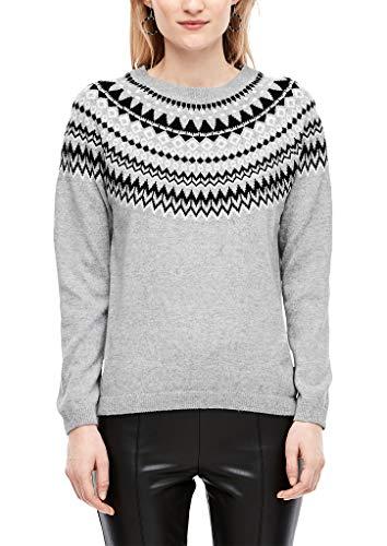 s.Oliver Damen 05.912.61.7001 Pullover, Grau (Grey/Dark Gr.Melange Knit 94x1), (Herstellergröße: 42)