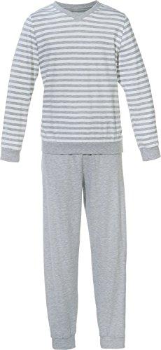 Erwin Müller Kinder Schlafanzug, Pyjama Jungen, Single-Jersey, Streifen Uni grau, Größe 128 - mit Gummibund und Bündchen, hautschmeichelnd, bequem