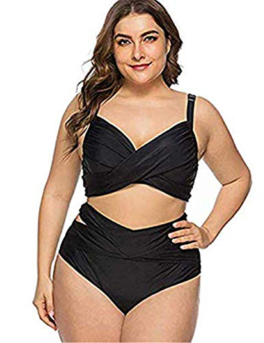 FeelinGirl Damen Mesh Badeanzug Zweiteilig Badeanzüge Elegantes Sportlich Tankini Set Bikini Bademode Plus Size 4XL Schwarz