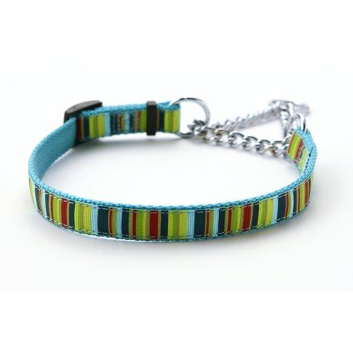 【小型犬用しつけ首輪】アミット しつけに便利おしゃれなハーフチェーンカラー Sサイズ 色:105 しま柄