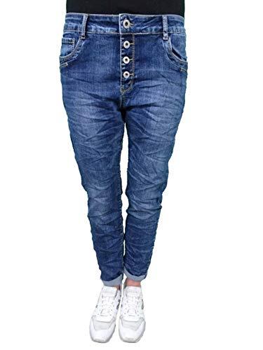 Karostar Denim Stretch Baggy-Boyfriend-Jeans Boyfriend 4 Knöpfe offene Knopfleiste weitere Farben 4XL-48 mid Denim Blue
