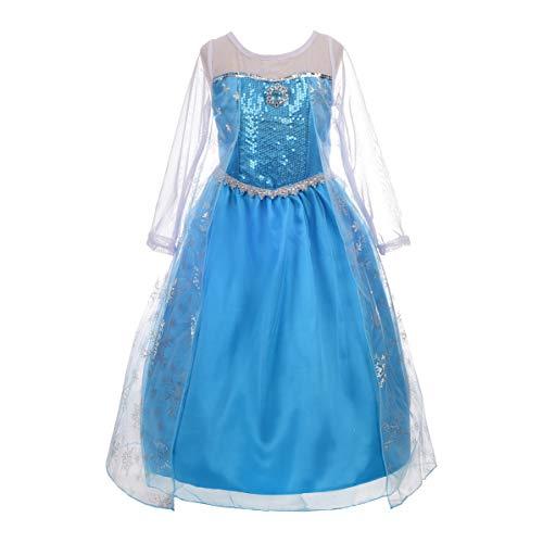 Lito Angels Mädchen Eiskönigin Prinzessin ELSA Kleid Kostüm Weihnachten Halloween Party Verkleidung Karneval Cosplay 7-8 Jahre Stil C