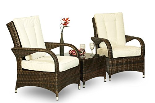 Ultra Stylish Arizona Rattan 2 Seat Arm Chair set & Small Glass Table + Cushions + Dust Cover Armchair Garden Patio Conservatory Lounge Furniture (Assembled) (Brown)