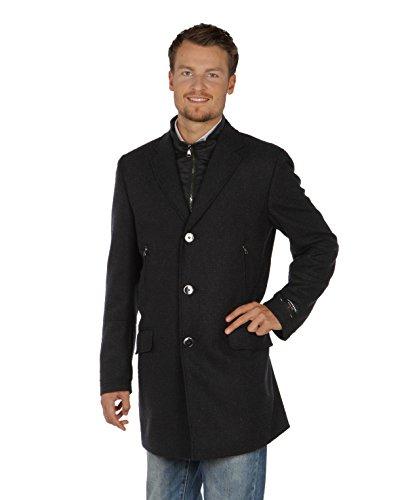 Benvenuto Herren Mantel Castro 25181-1254 aus Wolle mit Zusatz schwarz leicht meilliert Größen: 48 50 52 54 (54)