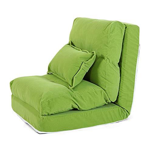 ZHFZD Verstelbare rugleuning faul zitzak, slaapkamer klapstoel bed, woonkamer leun speelstoel, sofa stoel met kussen (kleur: groen) Size groen