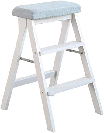 Wtbew-u Step Stools Folding Step Ladder  Steps Wooden Home Stairway Chair 150kg Capacity