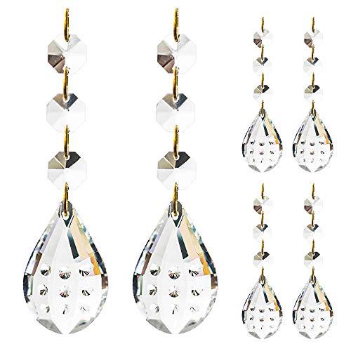Kronleuchter Perlen 6 Stück,5cm Kristall-Perlen mit Achteck Perlen Kette, Kristall Ersatz für Kronleuchter, Kristall Anhänger für Lichter, Glas Kronleuchter Perlen für Dekoration
