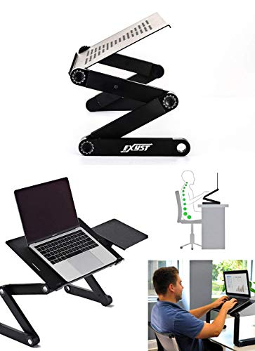 Adjustable laptop table stand - lightweight vented collapsible desk tray for work/bed/sofa/couch with mouse pad - black