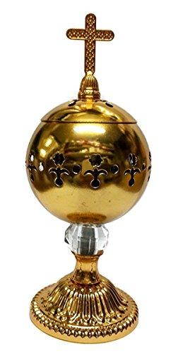 Nazareth Store Quemador de incienso de oro de latón pulido con incensario de la iglesia cristiana...