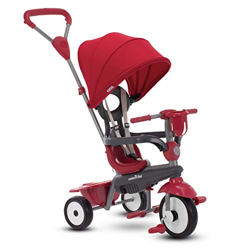 smarTrike Breeze Plus Toddler Tricycle for 1,2,3 Year Olds - 4 in 1 Multi-Stage Trike, Red