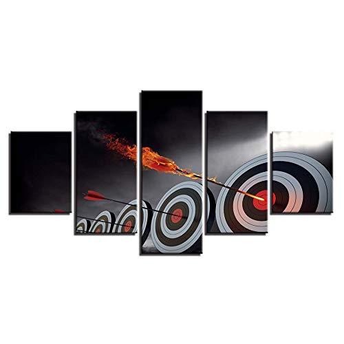 wkoqel Cuadro en Lienzo 5 Partes Arte de la Pared Impresión en HD Pinturas en Lienzo 5 Piezas Flecha Objetivo Cartel Decoración del hogar Moderno para la Sala Imágenes Marco