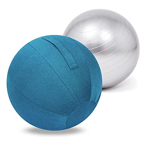 Pelota de Parto Embarazo Yoga Funda Para Pelota De Yoga,Pelota De Ejercicio Para Yoga Y Pilates Fitball En DiáMetros De 55/65/75 Cm,Con TecnologíA Anti ExplosióN,Antideslizante Y Con Inflador(Color
