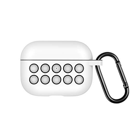 EloBeth Protective Case Compatible with AirPods Pro Case keychain Silicone AirPod 3 Case Cover Shock Proof Won't Affect Wireless Charging (White/Black)