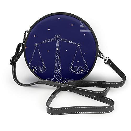 Wrution Sternzeichen Waage am Sternenhimmel runder Reißverschluss Schultertasche weiches Leder Kreise Geldbörse für Damen